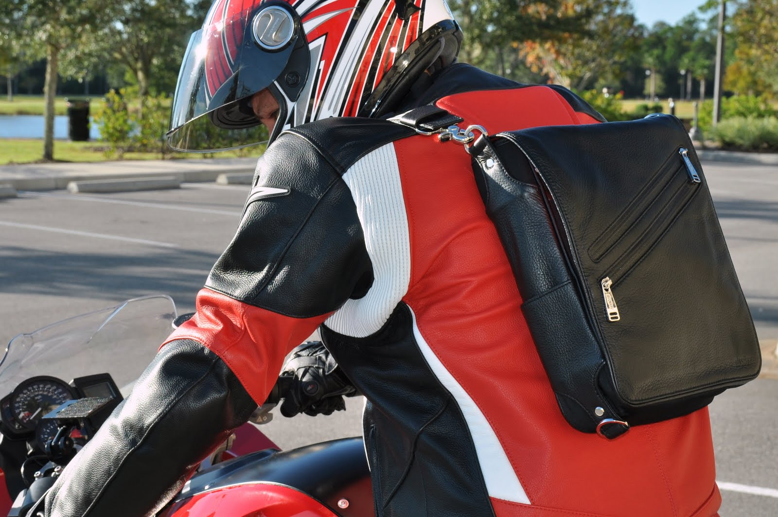 iPad messenger bag converts to backpack when riding a motorcycle