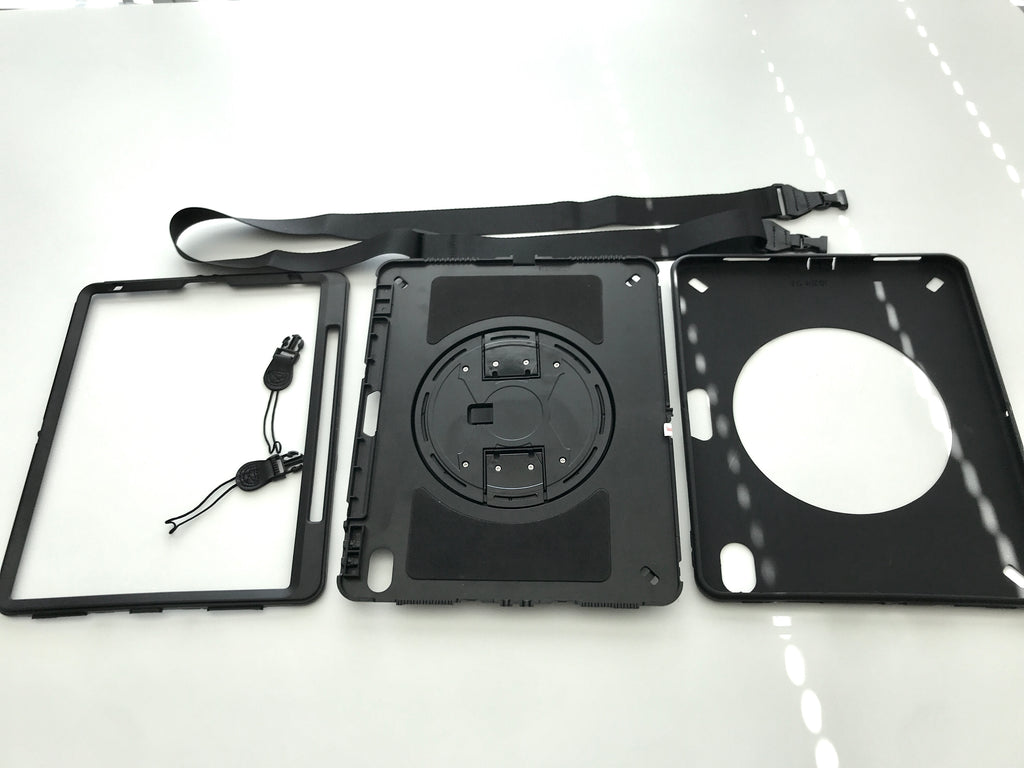 Parts of the iPad hands free case. Simple Assembly required.