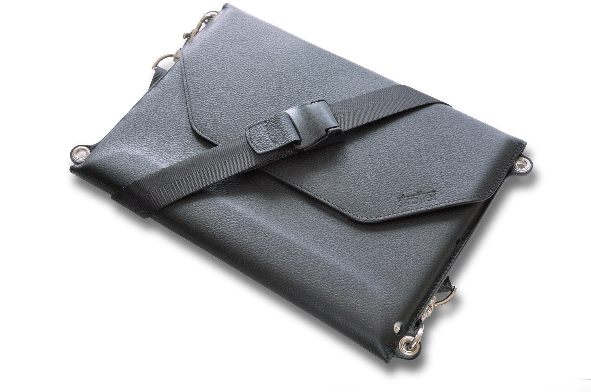 "Carrying case with shoulder strap for iPad Pro 9.7"". Turns into a mobile desk."