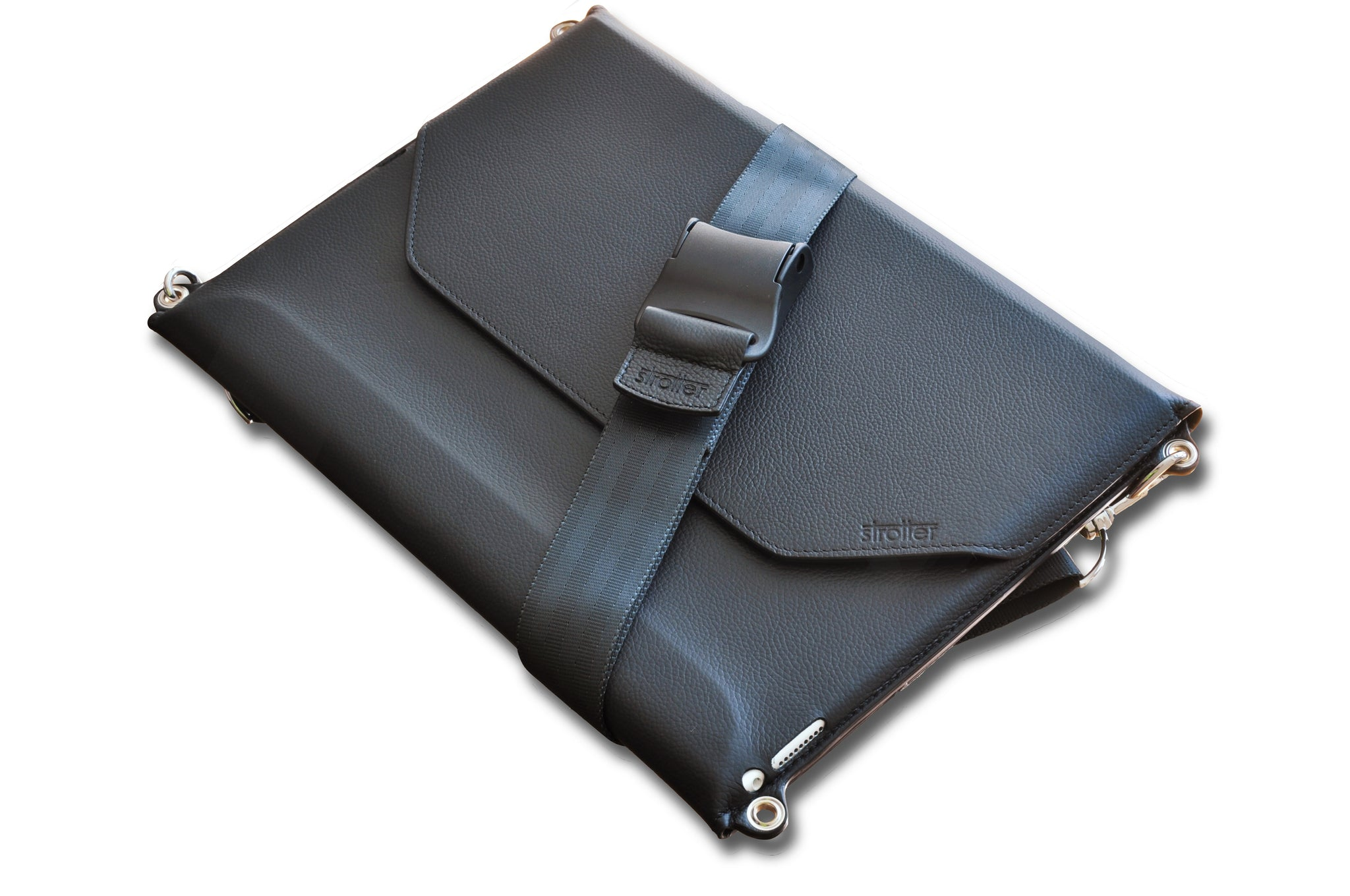 Black leather case with shoulder strap for iPad Pro 12.9
