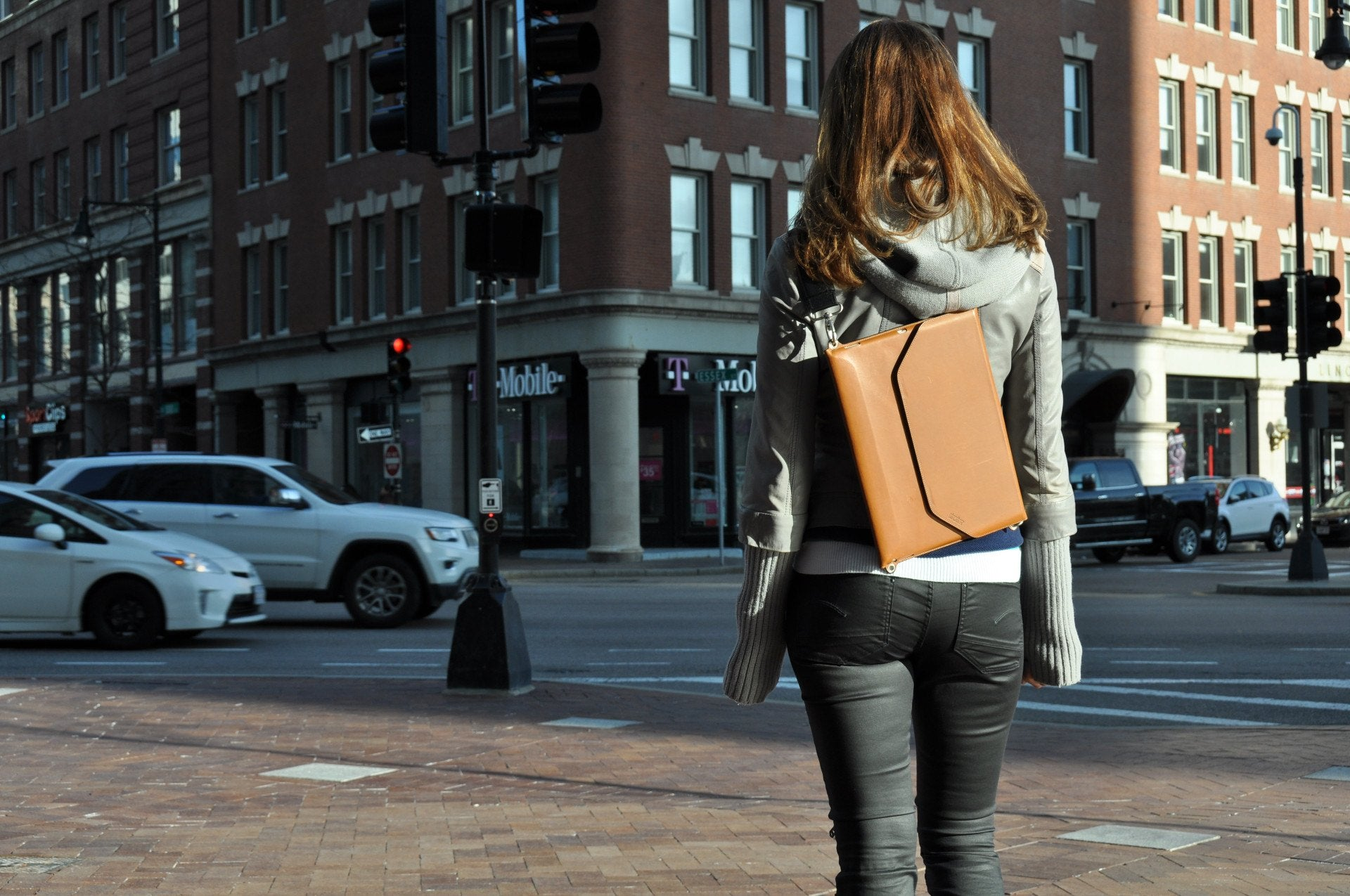 Brown leather flat backpack for iPad