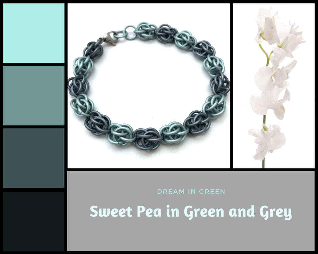 Green and Grey Sweet Pea Bracelet