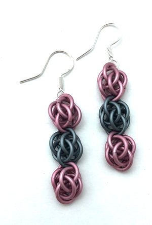 Pink and Grey Sweet Pea Earrings