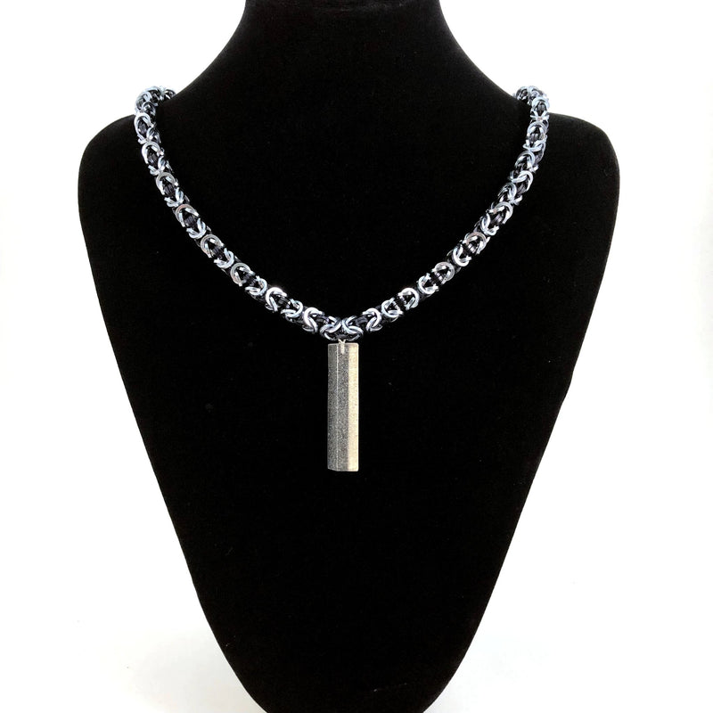 Black and Silver Chainmaille Necklace with Resin Pendant