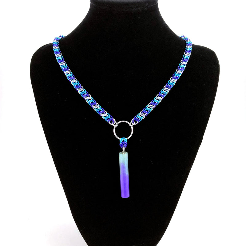 Purple and Turquoise Chainmaille Necklace with Resin Pendant