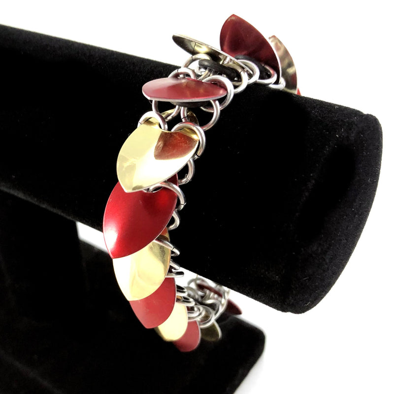 Red and Gold Scalemaille Bracelet