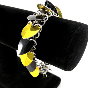 Yellow and Black Scalemaille Bracelet
