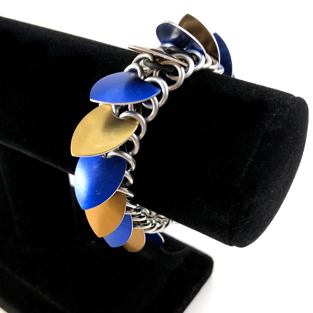 Blue and Bronze Scalemaille Bracelet