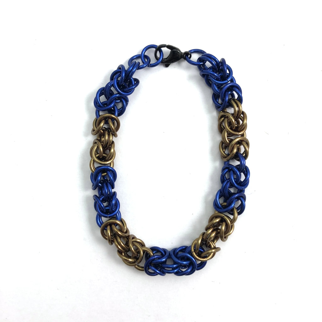 Blue and Bronze Chainmaille Bracelet
