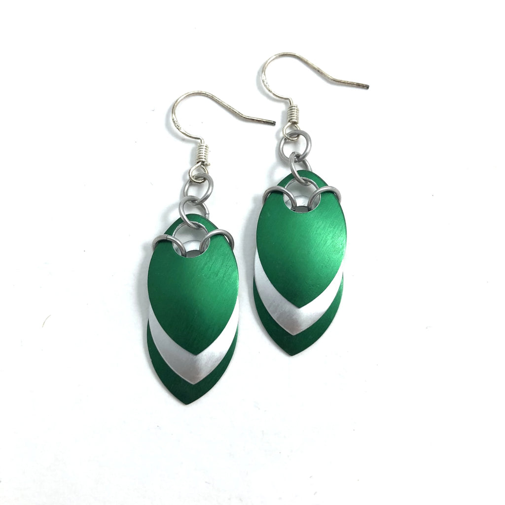 Silver and Green Scale Earrings