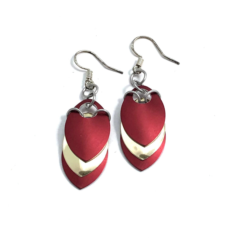 Red and Gold Scale Earrings