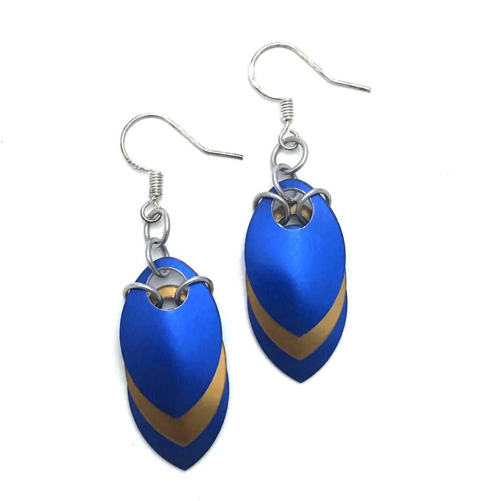 Blue and Bronze Scale Earrings