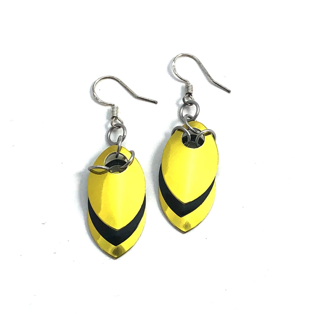 Yellow and Black Scale Earrings