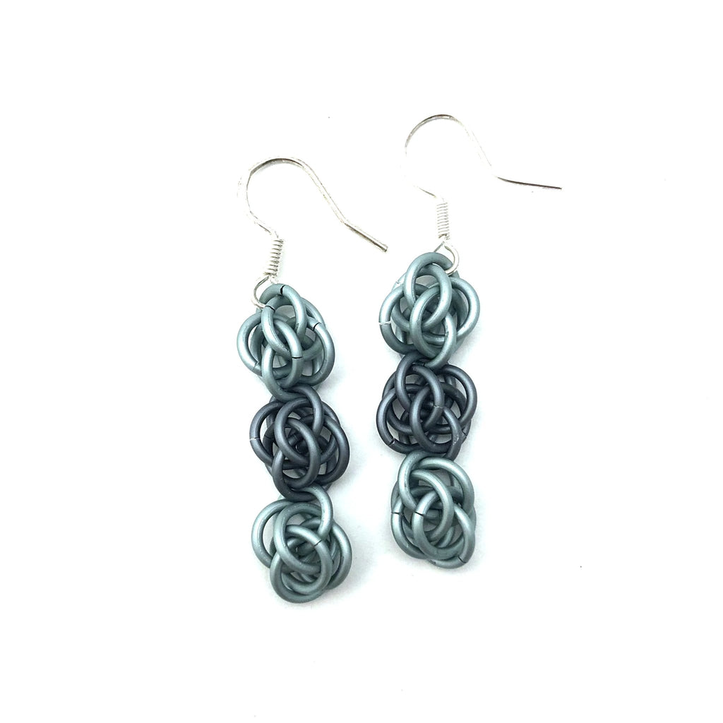 Green and Grey Sweet Pea Earrings