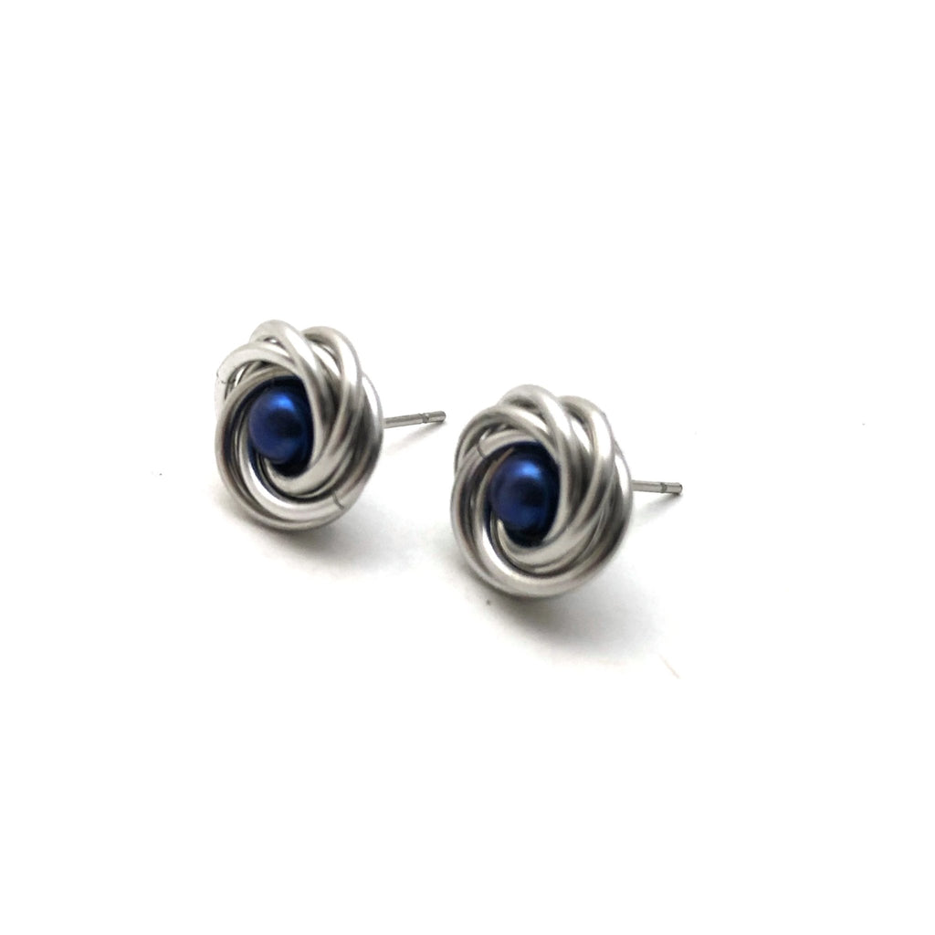 Rose Earrings - Blue and Silver