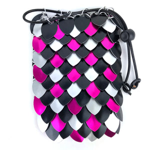 Pink, Black and Silver Checker Scale Dice Bag