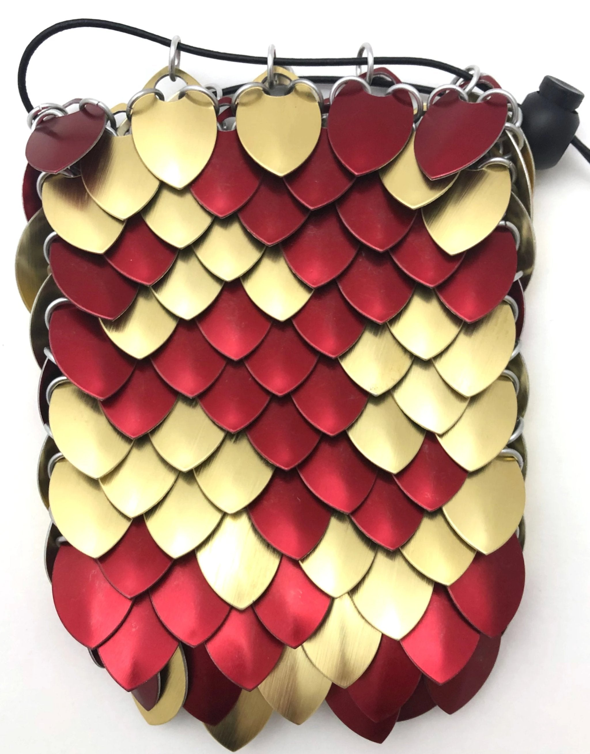5H x 3D Dragon Scale Dice Bag or Change Purse in Black with RED /& PALE GOLD Metal Scales