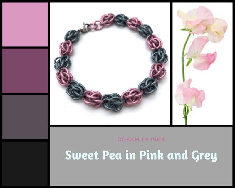 Pink and Grey Sweet Pea Bracelet