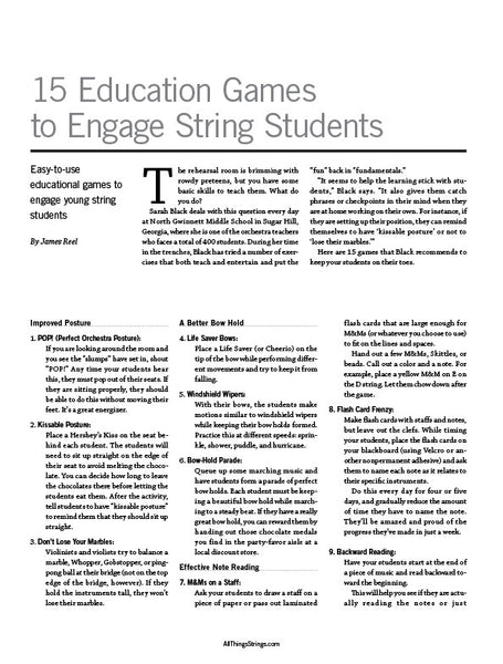 Improve Your Teaching Skills - 15 Education Games to Engage String Students