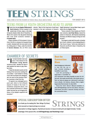 Teen Strings Tip Sheet #5:  Teens From LA Youth Orchestra Head to Japan