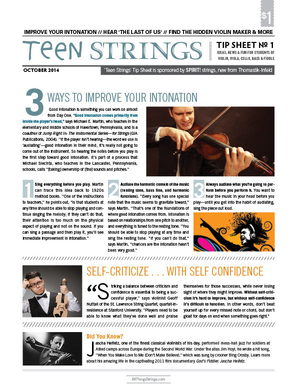 Teen Strings Tip Sheet #1: Improve Your Intonation