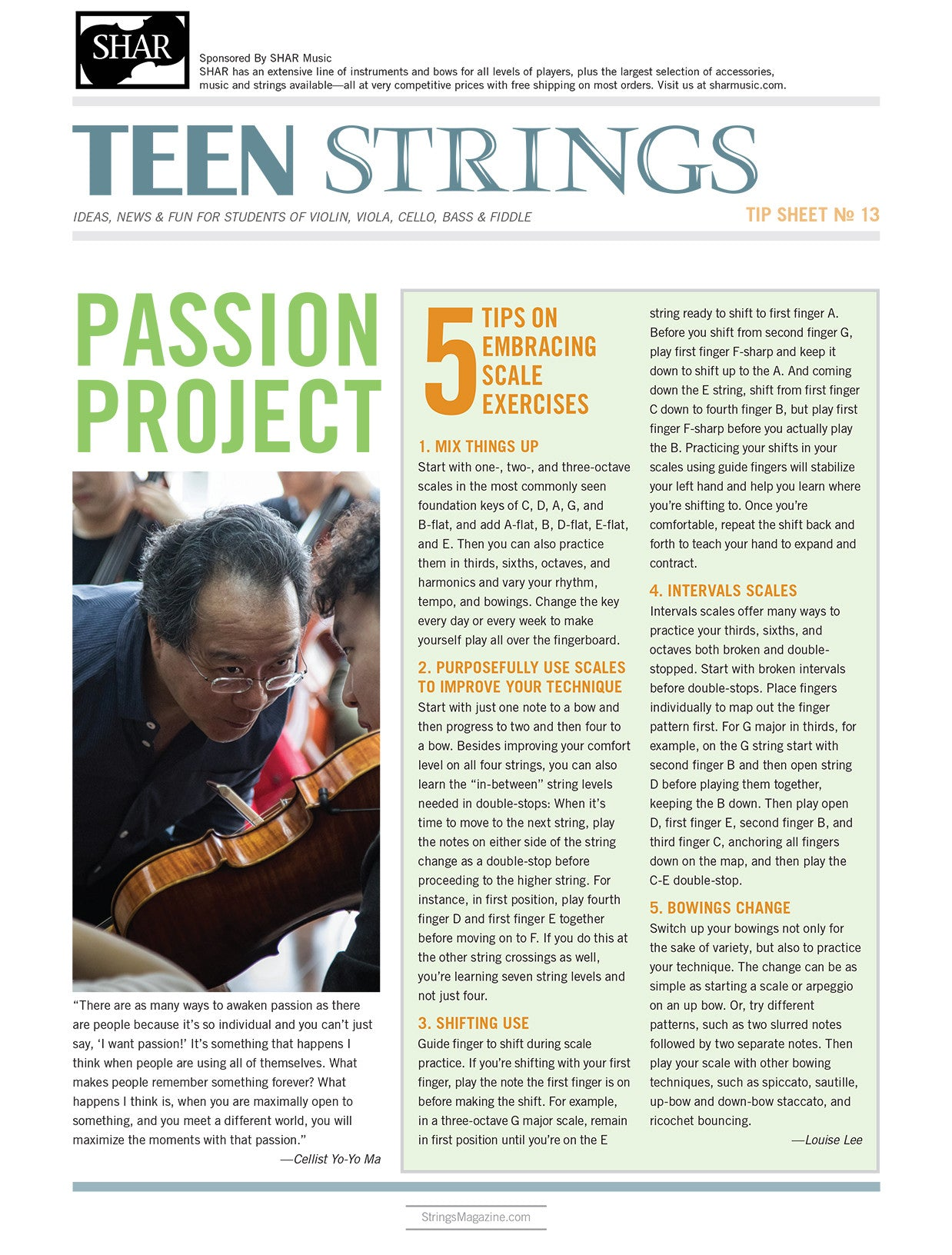Teen Strings Tip Sheet #13: 5 Tips on Embracing Scale Exercises