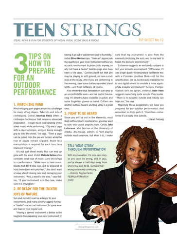 Teen Strings Tip Sheet #12: 3 Tips on How to Prepare for an Outdoor Performance