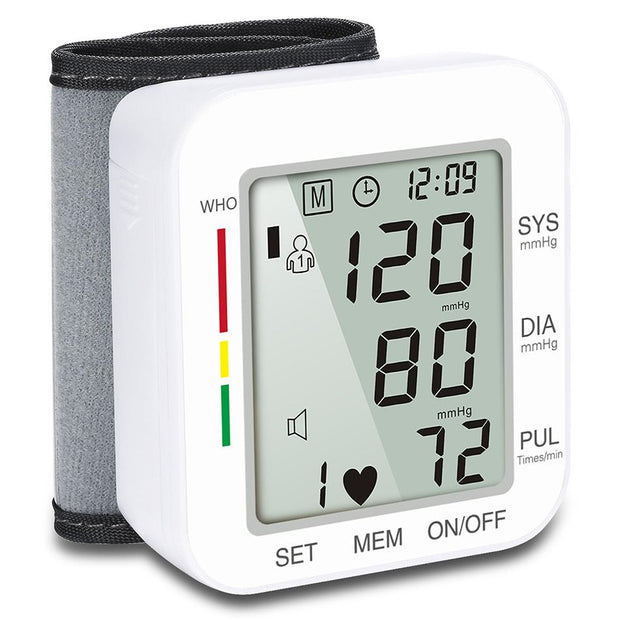 Digital Wrist Blood Pressure Monitor Pulse Rate Heart Beat Rate Meter