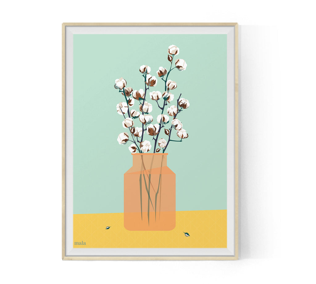 COTTON BLOSSOM - הדפס אגרטל כותנה  Medium/Large poster