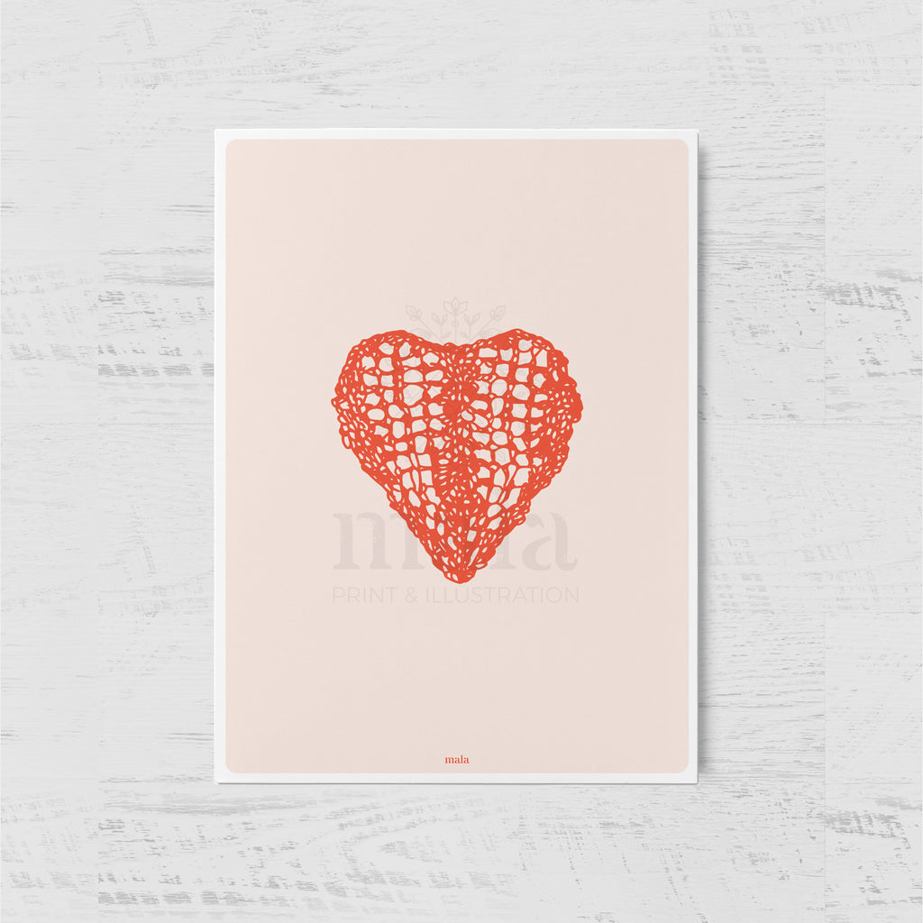 RED KNITTED HEART - גלויית לב סרוג אדום Large postcard