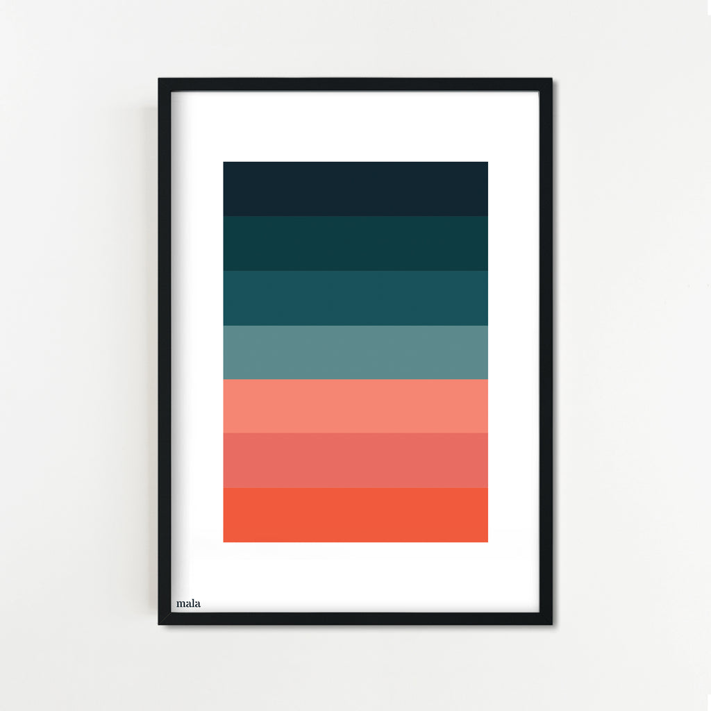 CORAL & TURQUOISE PALETTE - הדפס פלטת צבעים   Small poster
