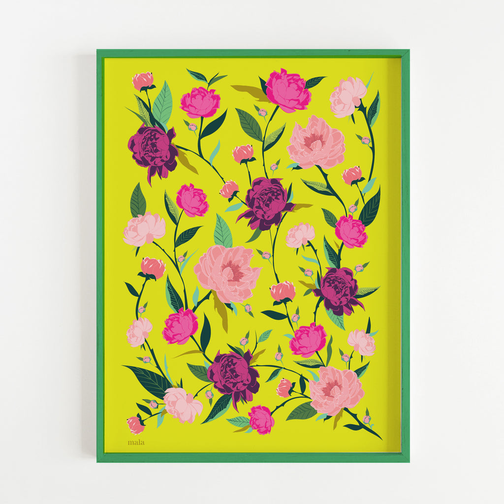 PEONIES FLOWERS - הדפס נוריות בצהוב Large poster