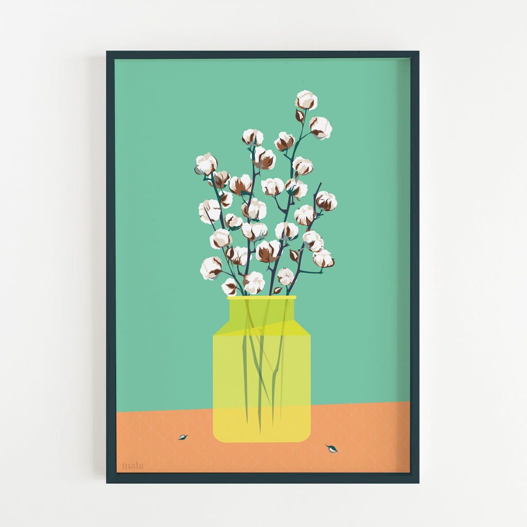 COTTON BLOSSOM - הדפס אגרטל כותנה  Medium poster