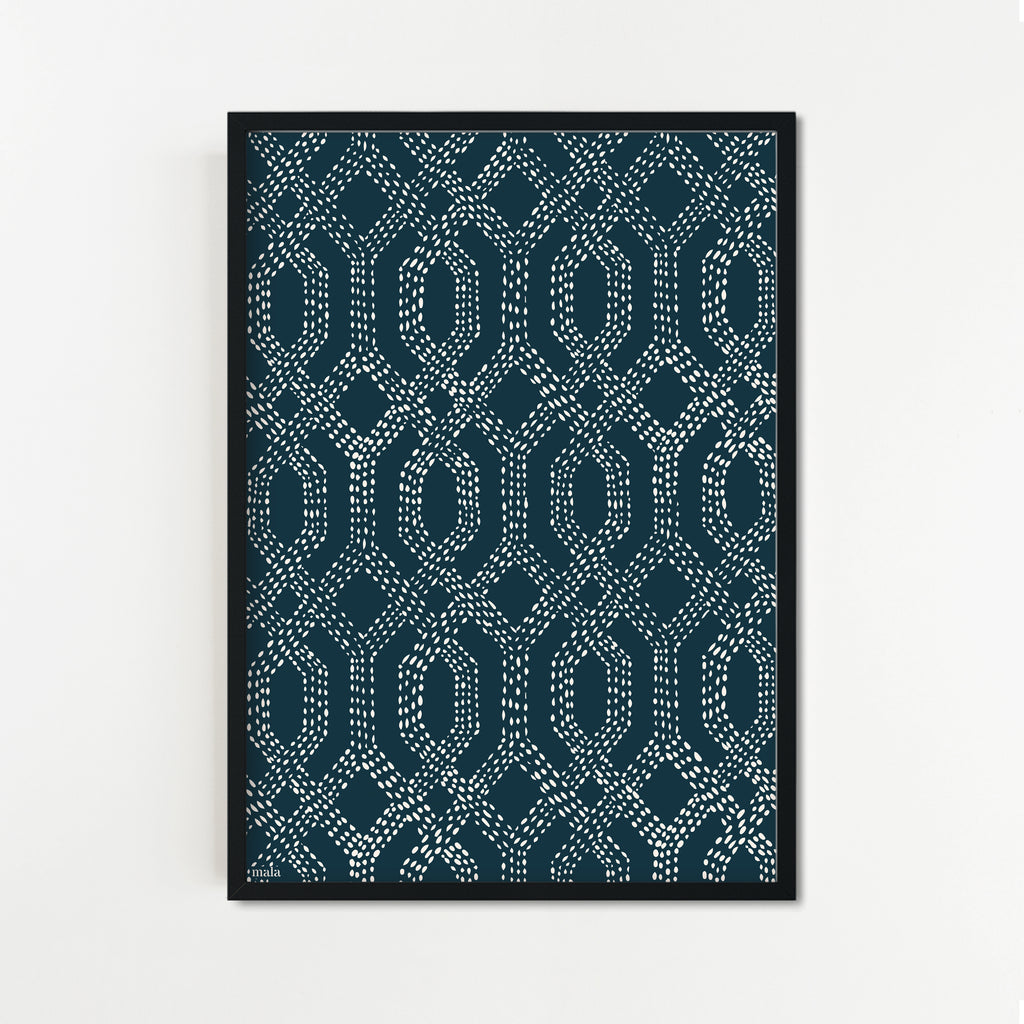 SHASHIKO JAPANESE EMBROIDERY- הדפס רקמה יפנית Small poster