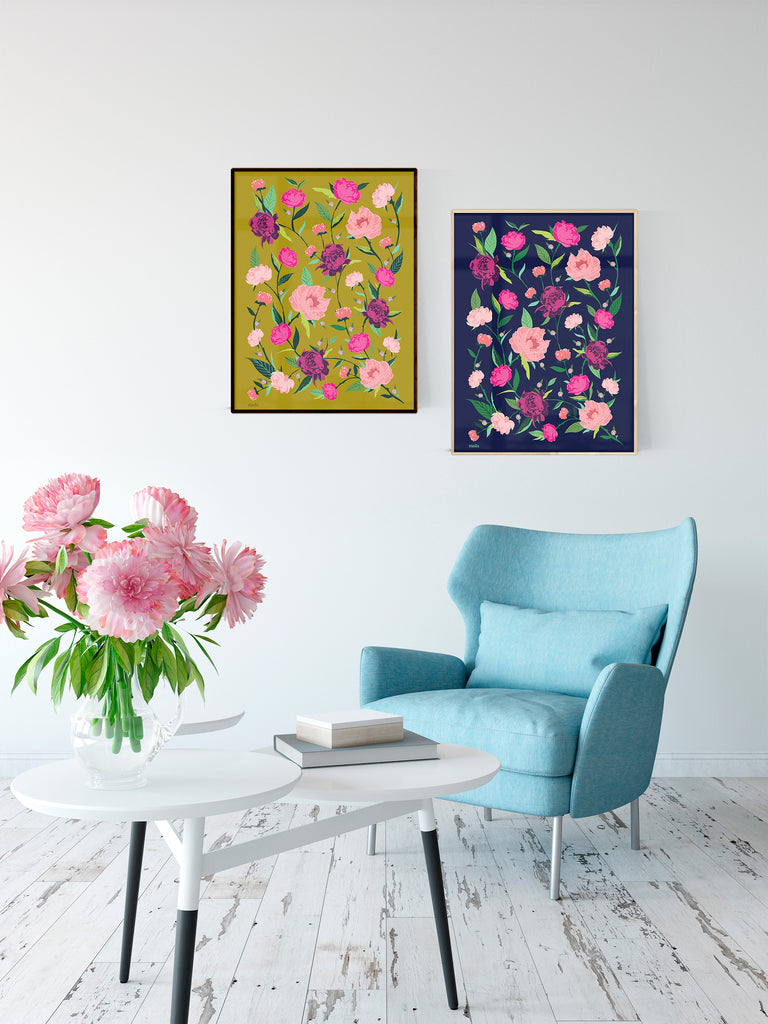 PEONIES FLOWERS - הדפס נוריות בכחול Large poster