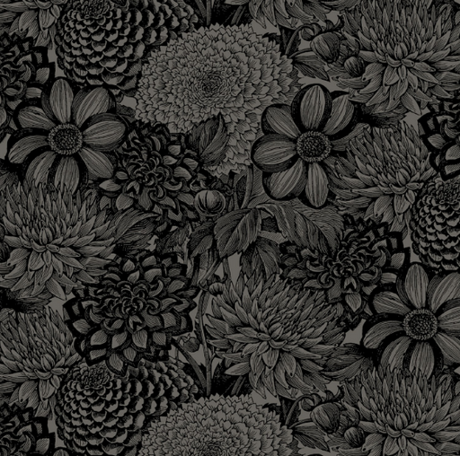 Black Floral Toile 108in Wide Back - The Modern Quilting Company