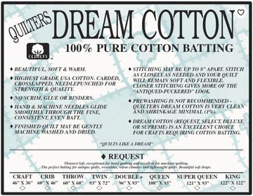 Natural Cotton Request (Thinnest Loft)- Quilter's Dream