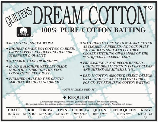 Natural Cotton Request (Thinnest Loft)- Quilter's Dream - The Modern Quilting Company
