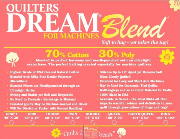 Dream Blend Midloft 70% Cotton, 30% Fine Denier Poly Microfibers