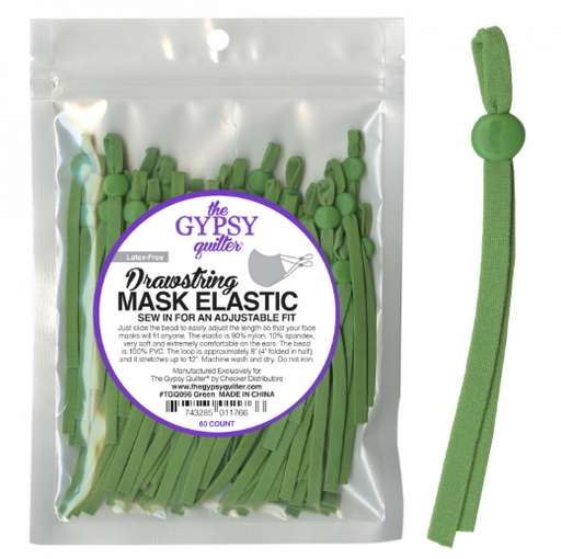 Green Drawstring Mask Elastic 8in 60ct - The Modern Quilting Company