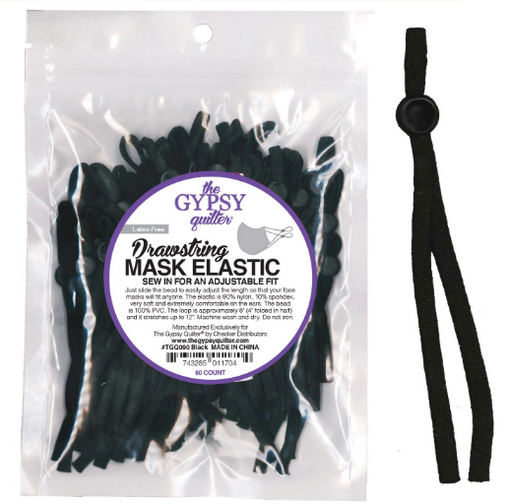 Black Drawstring Mask Elastic 8in 60ct - The Modern Quilting Company