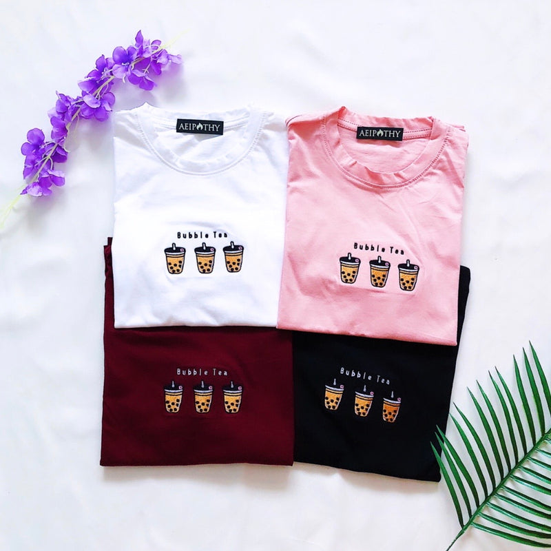 Bubble Tea Embroidered Tee
