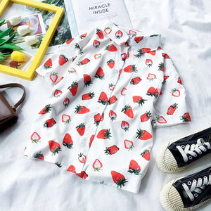 Strawberry Collared Top