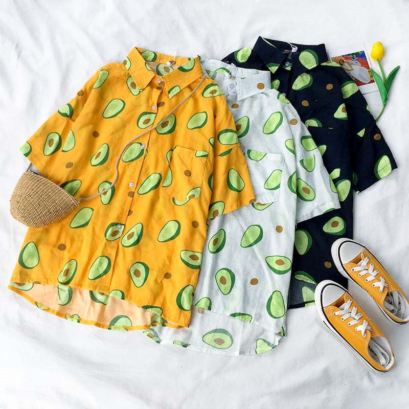 Happy Avocado Collared Top