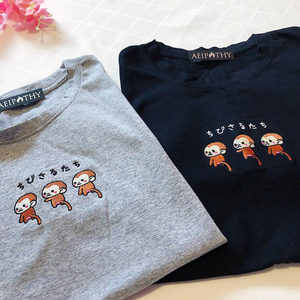 Triple Monkey Embroidered Tee