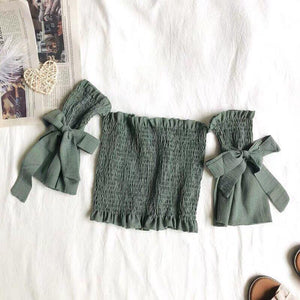 Ribbon Smock Offsie Top