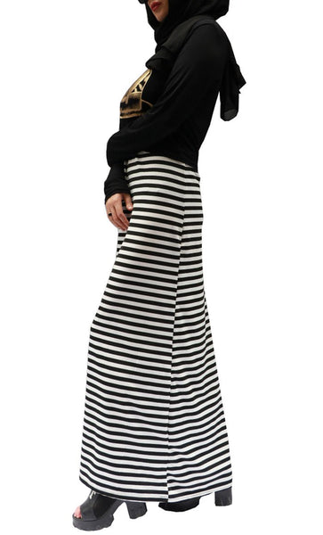 Stripes And Leaf Print Knitted Long Abaya Dress