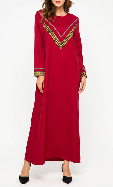 Contrast Detailed Yoke Embroidered Basic Abaya Dress