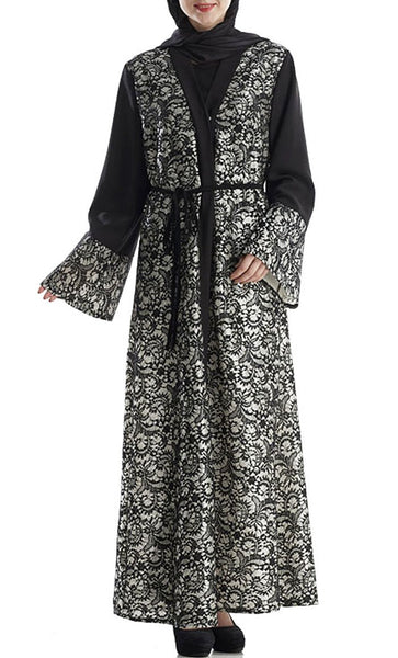 Lace Intricated Work Bisht Abaya Dress