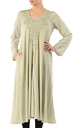 Crochet Embroidered Extra Long Tunic - Wine